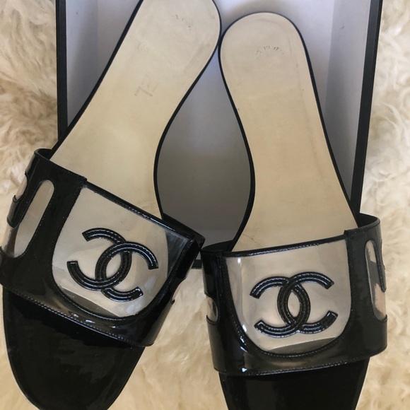 ca2a8077fdf0 CHANEL Shoes - Chanel Patent Leather Plastic CC Slides Size 40.5